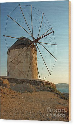 Mykonos Windmill  Wood Print