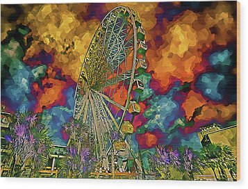 Wood Print featuring the photograph Myrtle Beach Skywheel Abstract by Bill Barber