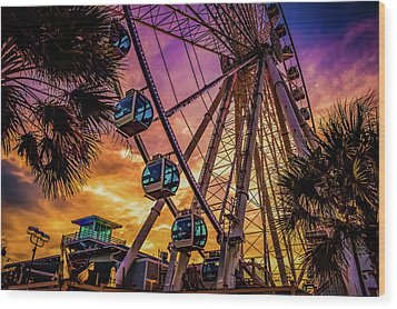 Myrtle Beach Skywheel Wood Print