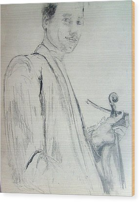Wood Print featuring the drawing Myself With A Violin by Andrew Gillette