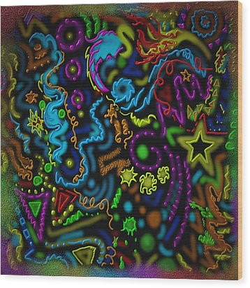 Wood Print featuring the painting Mysteries Of The Night by Kevin Caudill