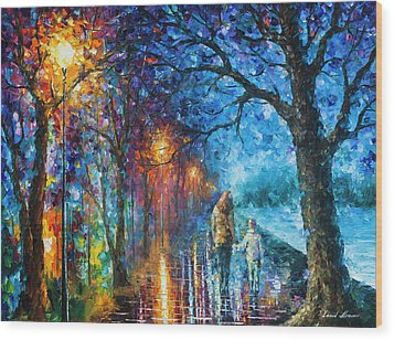 Mystery Of The Night Wood Print by Leonid Afremov