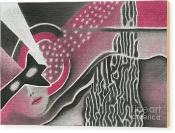 Wood Print featuring the pastel Mystery Woman by Christine Perry