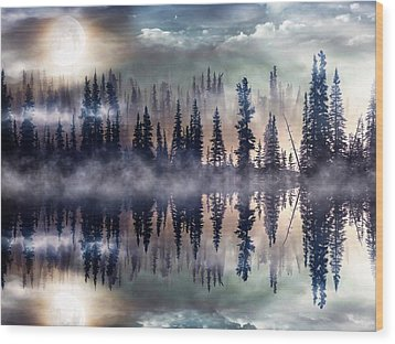 Wood Print featuring the mixed media Mystic Lake by Gabriella Weninger - David