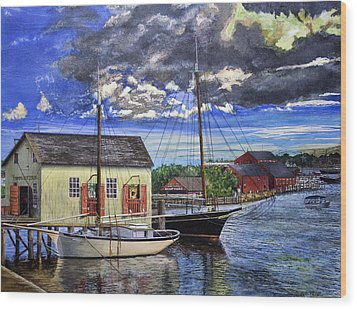 Wood Print featuring the painting Mystic Seaport Ct by Stuart B Yaeger