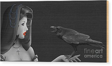 Mystic Woman With Raven Wood Print by Monika Juengling