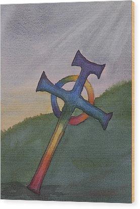 Mystical Celtic Cross Wood Print by Debbie Homewood