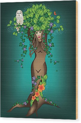 Mystical Maiden Tree Wood Print by Serena King