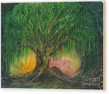 Mystical Willow Wood Print by Colleen Koziara