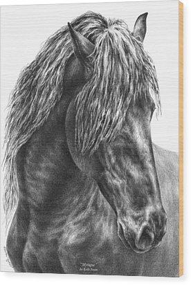 Mystique - Friesian Horse Portrait Print Wood Print by Kelli Swan