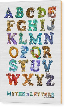 Myths N Letters Wood Print by Stanley Morrison