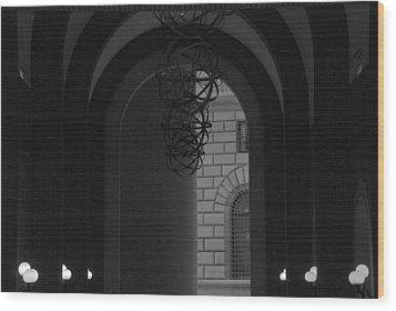 N Y C Lighted Arch Wood Print by Rob Hans