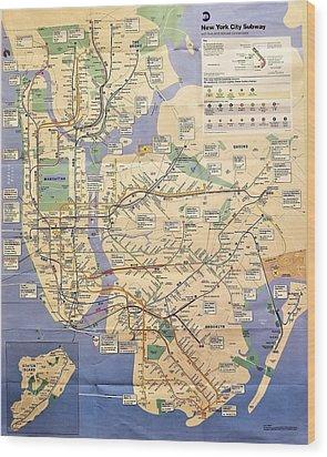 N Y C Subway Map Wood Print