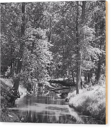 Wood Print featuring the photograph Nadine's Creek In Black And White by Kathy Kelly