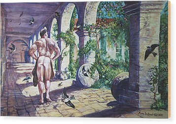 Naked In The Cloisters Wood Print
