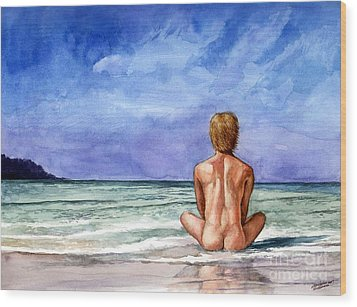 Naked Male Sleepy Ocean Wood Print