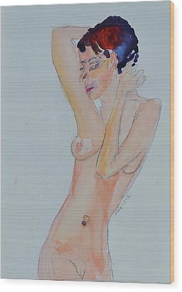 Wood Print featuring the painting Naked Noelle by Beverley Harper Tinsley