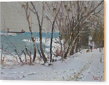 Naked Trees By The Lake Shore Wood Print by Ylli Haruni