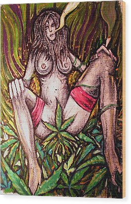 Naked With Green And A Hit Of Pink Wood Print by Sam Hane