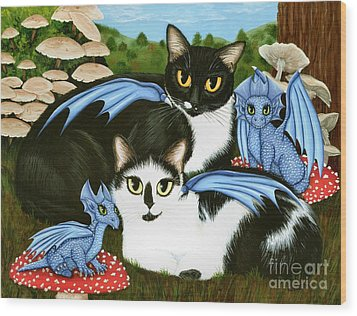 Wood Print featuring the painting Nami And Rookia's Dragons - Tuxedo Cats by Carrie Hawks