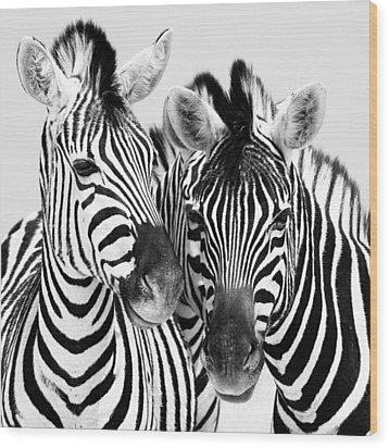 Namibia Zebras Iv Wood Print by Nina Papiorek