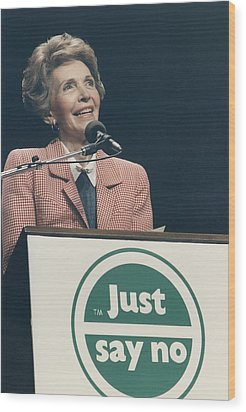 Nancy Reagan Speaking At A Just Say No Wood Print by Everett