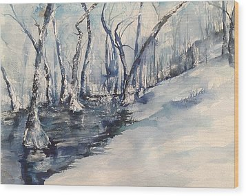Nancy's Creek Winter Of 2012 Wood Print by Robin Miller-Bookhout