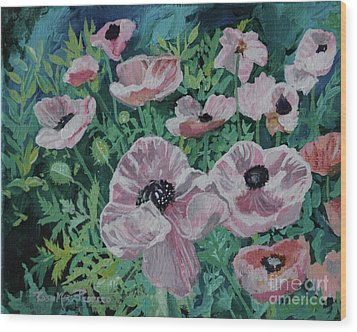 Wood Print featuring the painting Nancy's Poppies by Robin Maria Pedrero