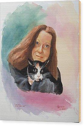 Nandi And Her Cat Wood Print by Charles Hetenyi
