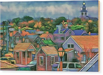 Nantucket Nestles Around The Port Wood Print by Jack Torcello