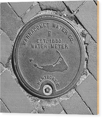 Nantucket Water Meter Cover Wood Print by Charles Harden