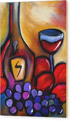 Napa Mix - Abstract Wine Art By Fidostudio Wood Print by Tom Fedro - Fidostudio