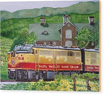 Wood Print featuring the painting Napa Wine Train by Gail Chandler