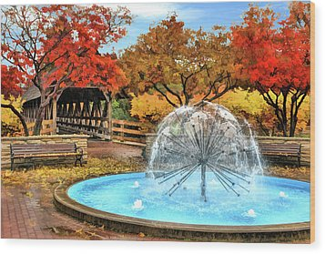 Wood Print featuring the painting Naperville Dandelion Fountain by Christopher Arndt