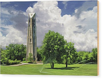 Wood Print featuring the painting Naperville Millennium Carillon by Christopher Arndt
