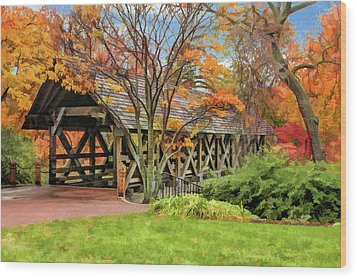 Wood Print featuring the painting Naperville Riverwalk Covered Bridge by Christopher Arndt