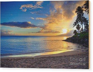 Napili Bay Maui Wood Print by Kelly Wade
