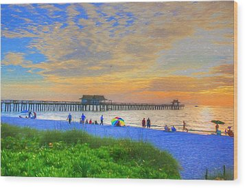 Naples Beach Wood Print by Sharon Batdorf