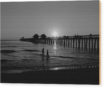 Naples Florida Pier Sunset Wood Print