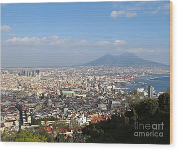 Naples Panoramic View Wood Print by Kiril Stanchev