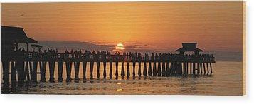 Naples Pier At Sunset Wood Print