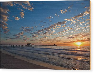 Naples Pier Days End. Wood Print by Nick  Shirghio
