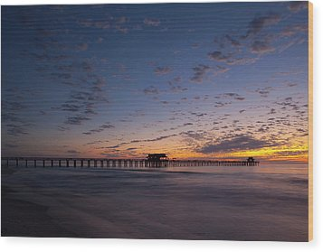 Naples Pier Magic Hour Wood Print by Nick  Shirghio