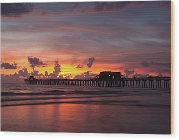 Naples Pier Silhouette  Wood Print by Nick  Shirghio