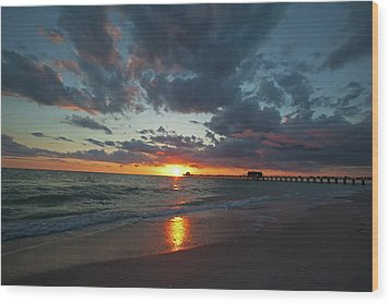 Naples Pier Sunset  Wood Print by Nick  Shirghio