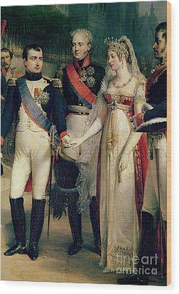 Napoleon Bonaparte Receiving Queen Louisa Of Prussia Wood Print by Nicolas Louis Francois Gosse