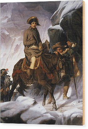 Napoleon Crossing The Alps Wood Print by Hippolyte Delaroche