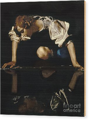 Narcissus Wood Print by Caravaggio