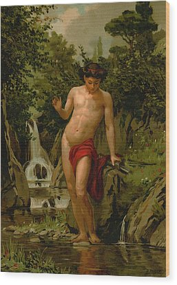Narcissus In Love With His Own Reflection Wood Print by Dionisio Baixeras-Verdaguer
