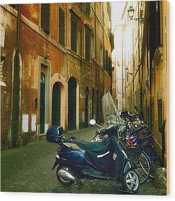 narrow streets in Rome Wood Print by Joana Kruse